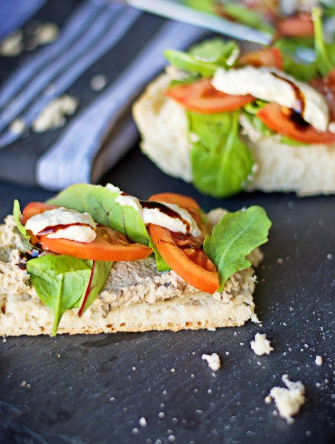 Baba Ghanoush Crostini with Vegan Aioli