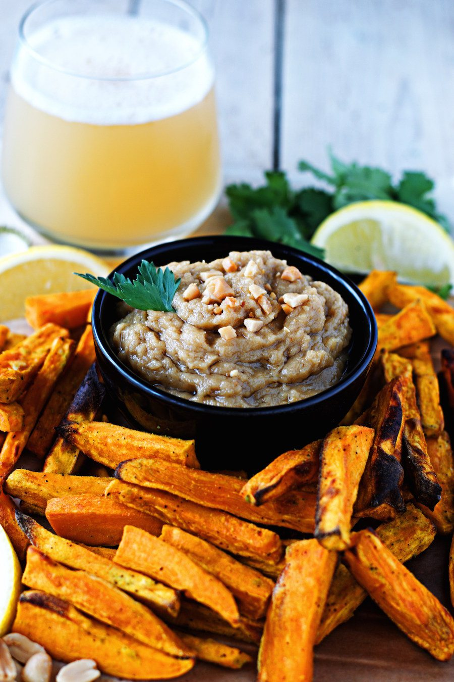 Wasabi Fries with Coconut Peanut Hummus #vegan #glutenfree www.contentednesscooking.com