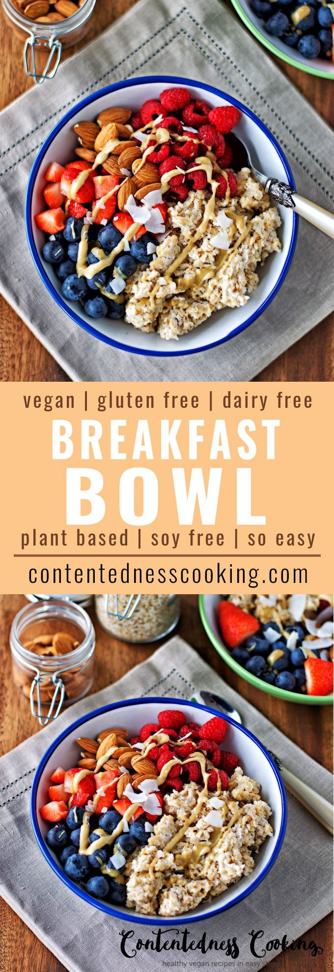 Collage of two pictures of the Vegan Breakfast Bowl with the recipe title text.