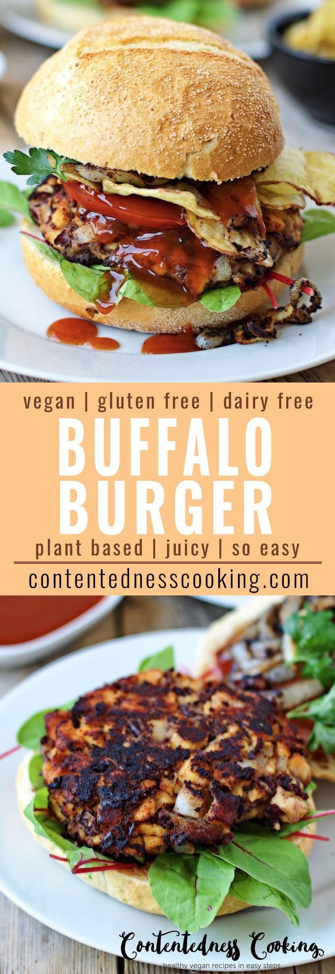 Vegan Buffalo Burger | #vegan #glutenfree #dairyfree #plantbased #contentednesscooking
