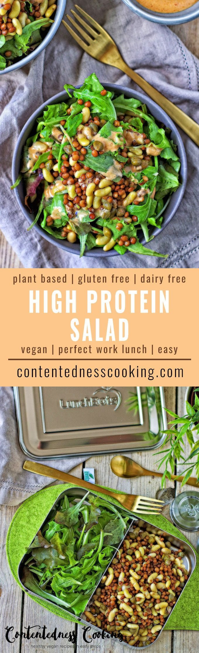 Collage of two pictures of the High Protein Salad with recipe title text.