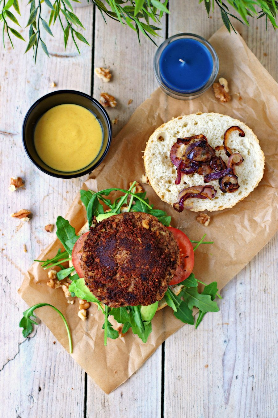 Top view on the open Vegan Lentil Burger placed on parchment paper.