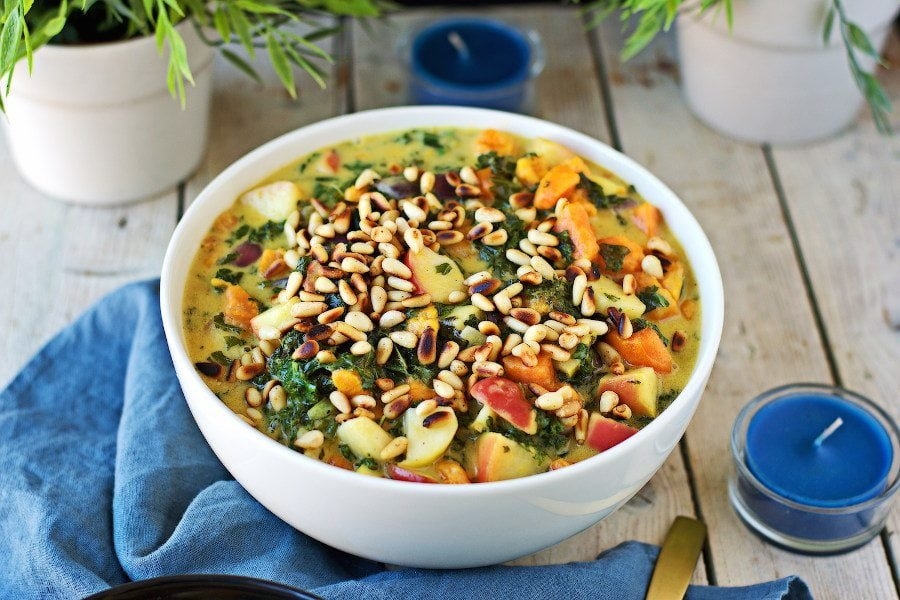 Vegan Sweet Potato Soup with Kale #vegan #glutenfree www.contentednesscooking.com