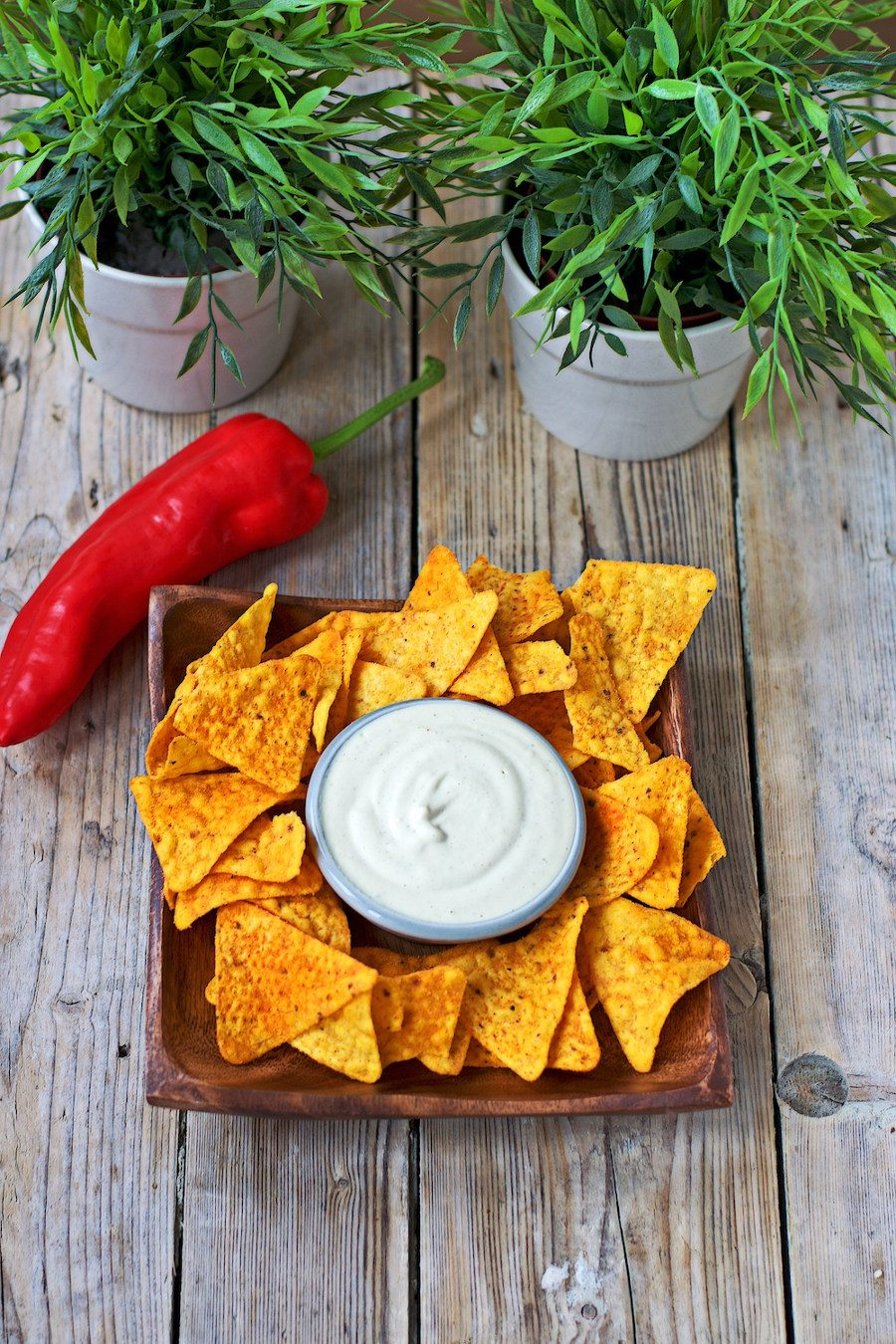 Vegan Cheese Sauce with tortilla chips.