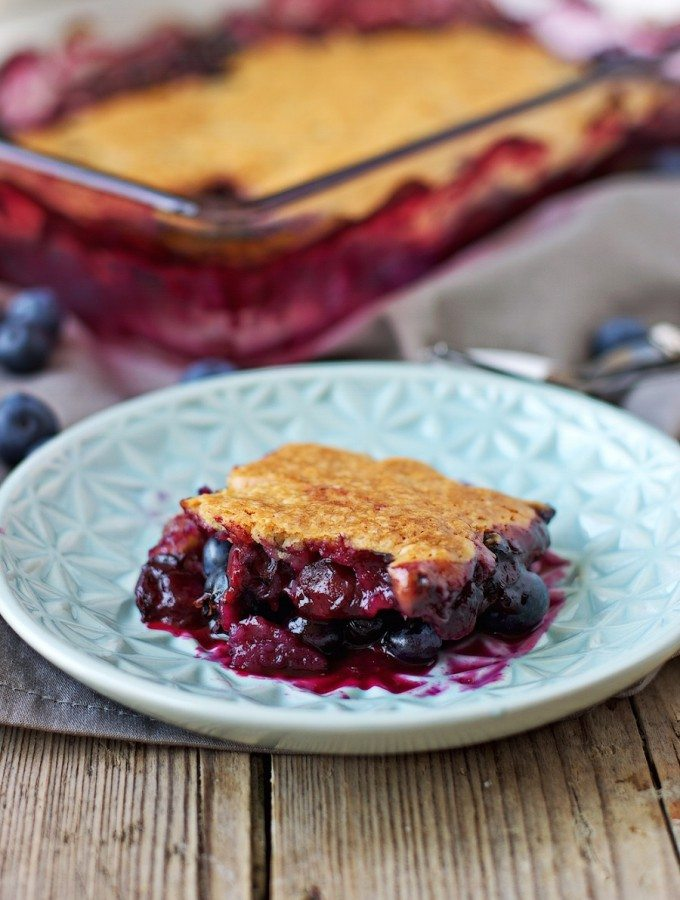 Easy Blueberry Cobbler | #vegan #glutenfree #dessert contentednesscooking.com