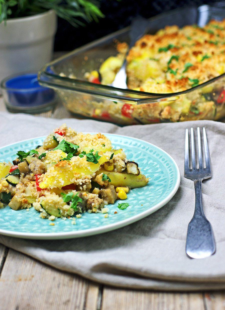 Closeup of the Vegan Potato Casserole.
