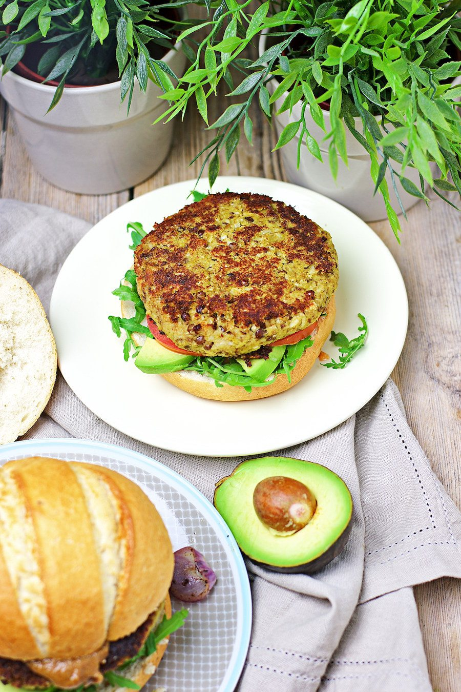 open Veggie Burger with Cauliflower showing clearly the patty.
