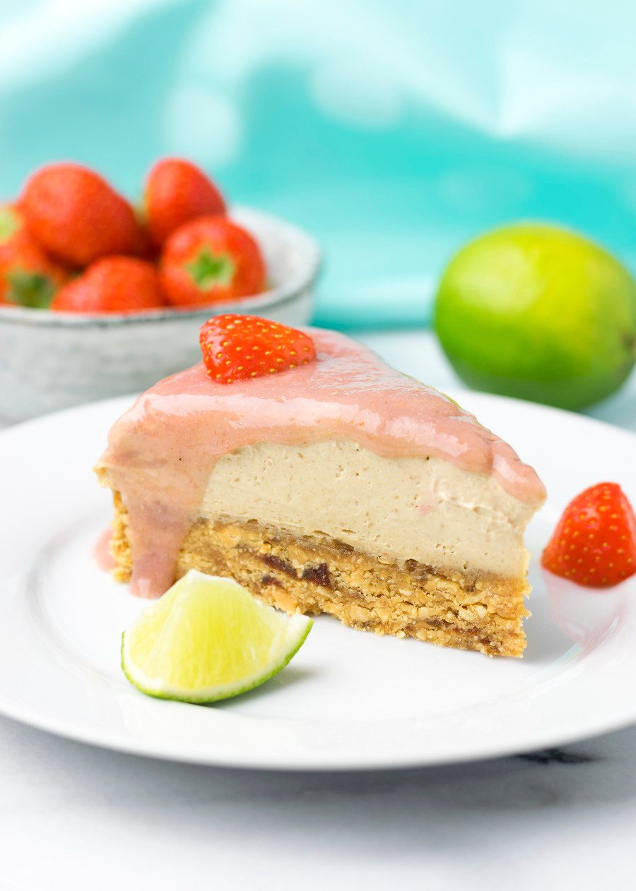 A slice of the Raw Vegan Strawberry Peanut Butter Cheesecake on a plate.