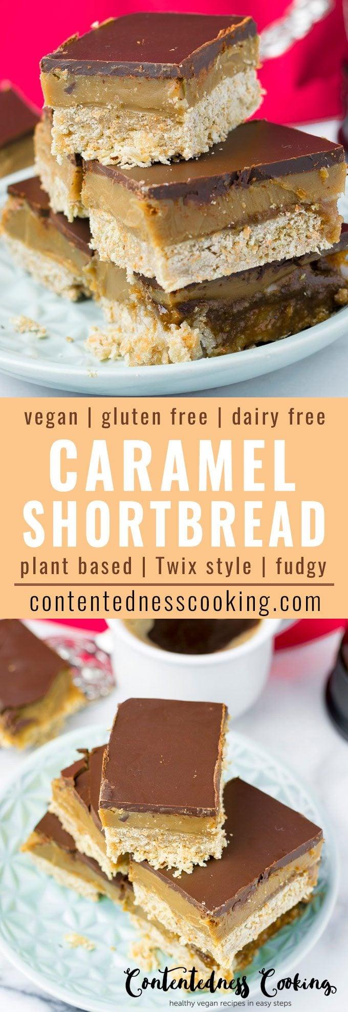 Vegan Caramel Shortbread Copycat Twix Style | #vegan #glutenfree #plantbased #dairyfree #contentednesscooking