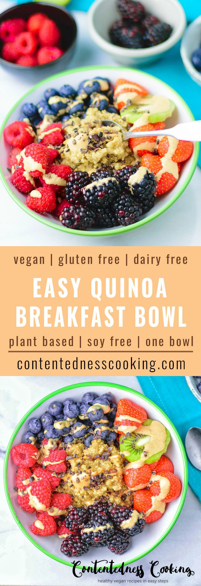 Collage of two pictures of the Easy Everyday Quinoa Breakfast Bowl with recipe title text.