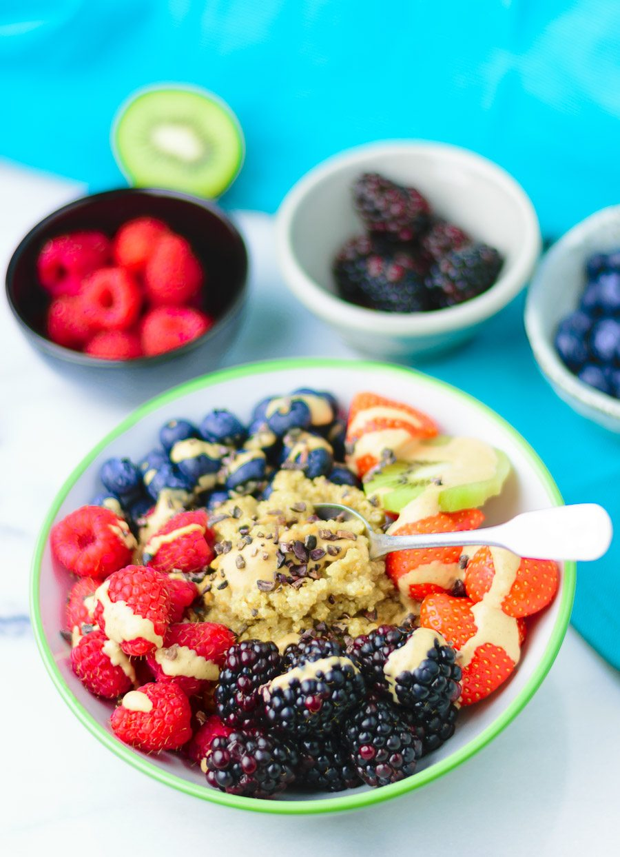 Top closup on a wide Everyday Quinoa Breakfast Bowl.