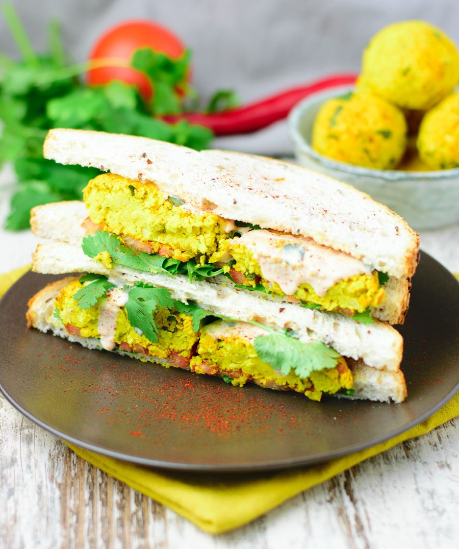 Two sandwiches with the tumeric falafel balls.