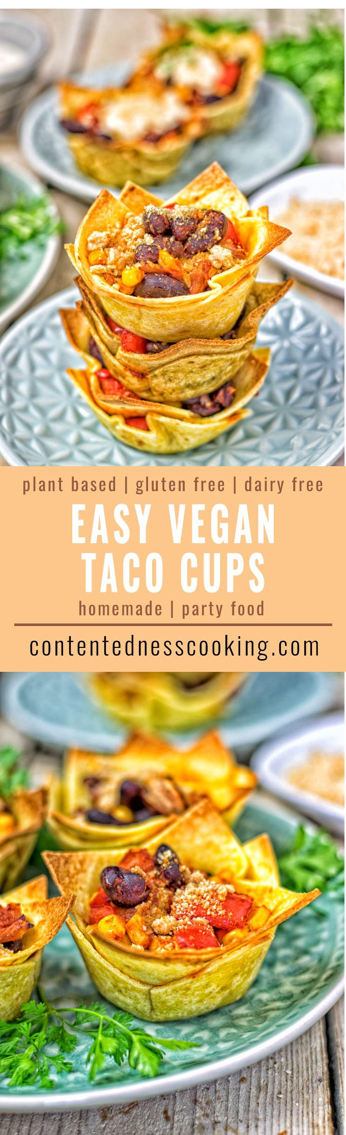 Stack of Easy Vegan Taco Cups.