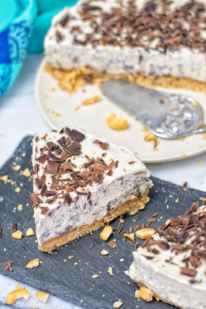 A slice of the Stracciatella Cream Pie.