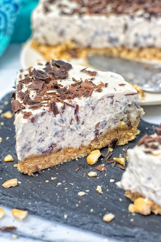 Closeup of a slice of Stracciatella Cream Pie.
