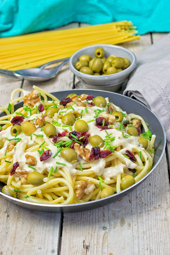 10 Minute Mediterranean Vegan Pasta in a medium sauce pan.