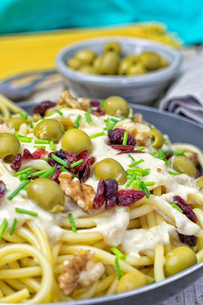 Closeup view on 10 Minute Mediterranean Vegan Pasta