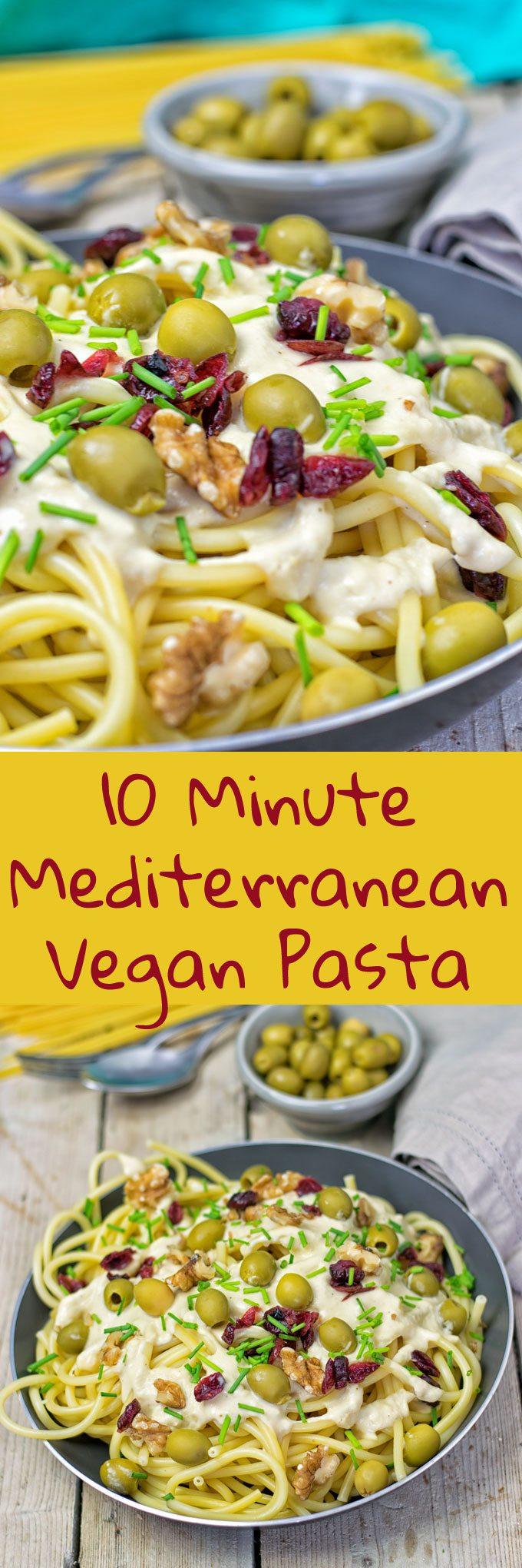 10 Minute Mediterranean Vegan Pasta   #vegan #glutenfree www.contentednesscooking.com