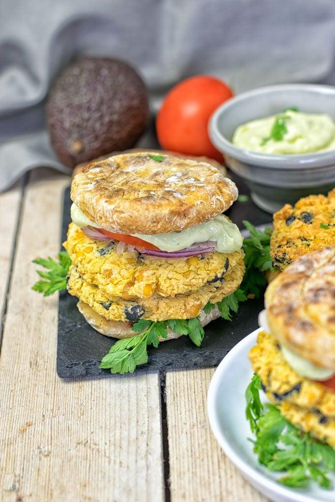 Mediterranean Vegan Burger.
