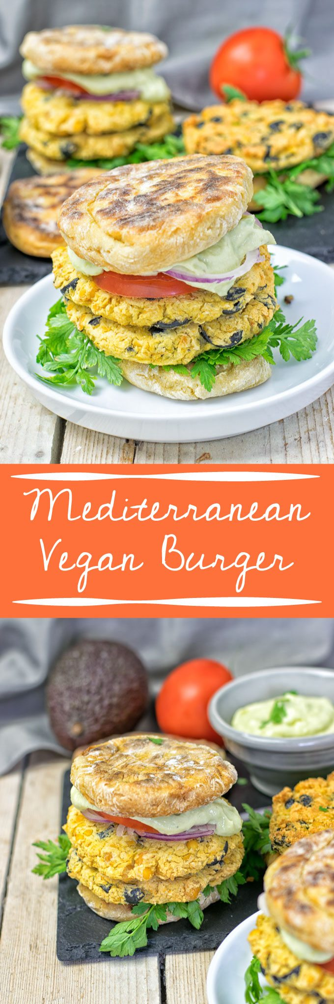 Collage of two pictures of the Mediterranean Vegan Burger with recipe title text.
