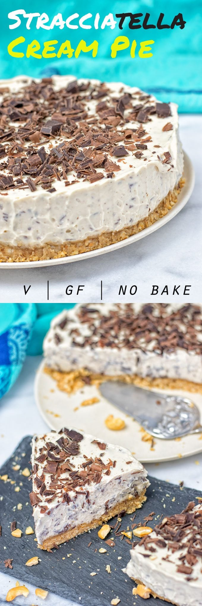 Collage of two pictures of the Stracciatella Cream Pie with recipe title text.