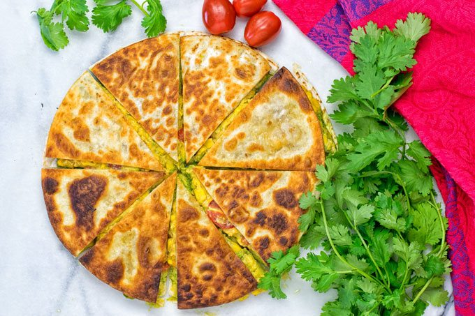 Top view on Vegan Cheese Quesadillas.