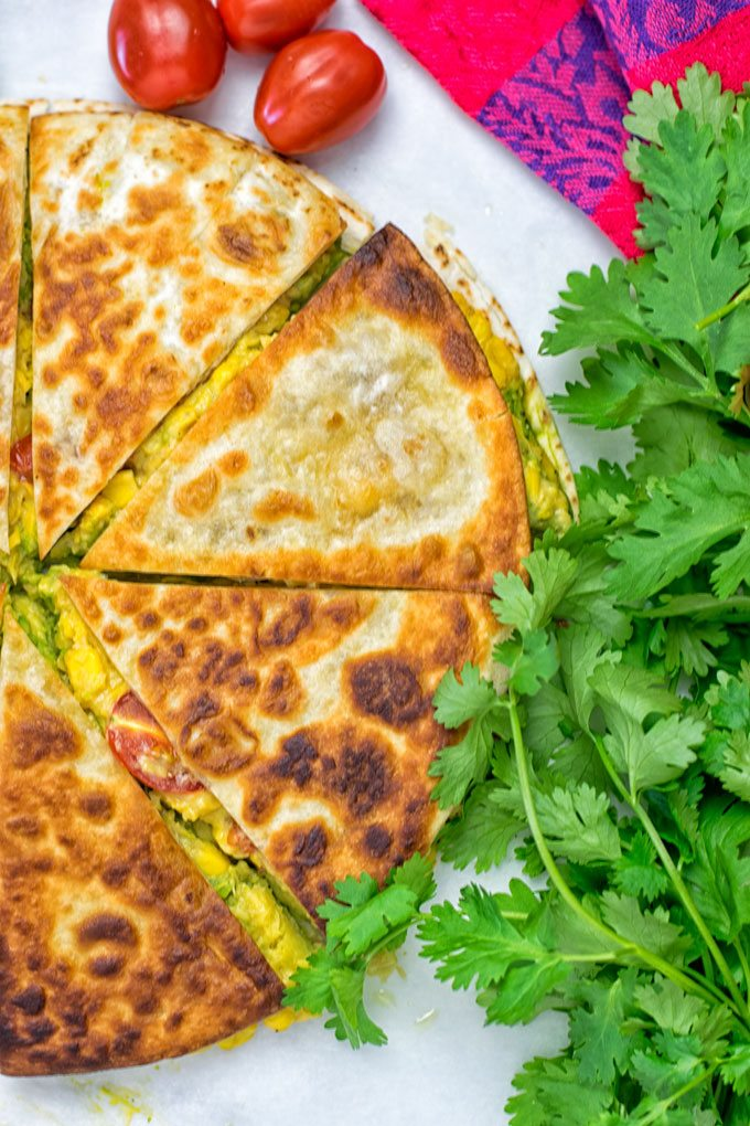 Vegan Cheese Quesadillas and a bunch of fresh cilantro.