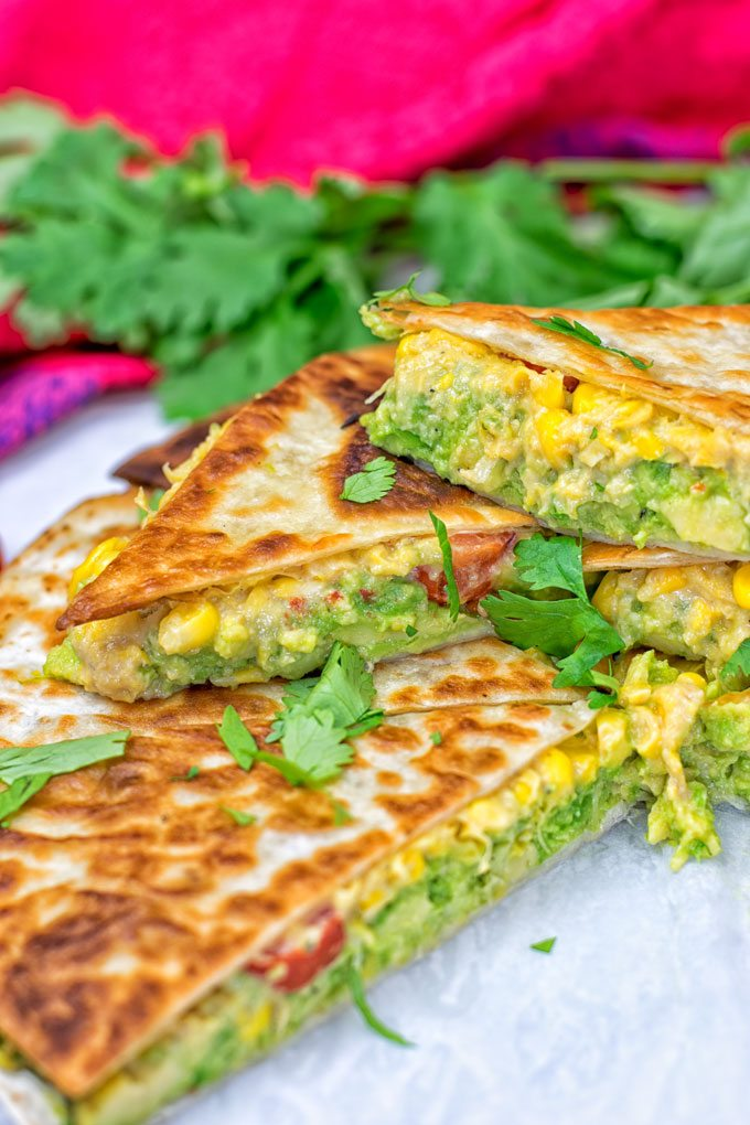 Vegan Cheese Quesadillas garnished with cilantro