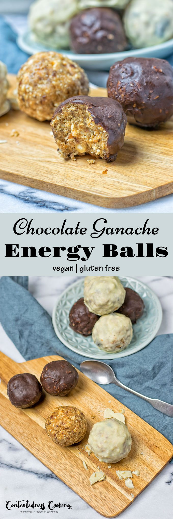 Collage of two pictures of Chocolate Ganache Energy Balls with recipe title text.