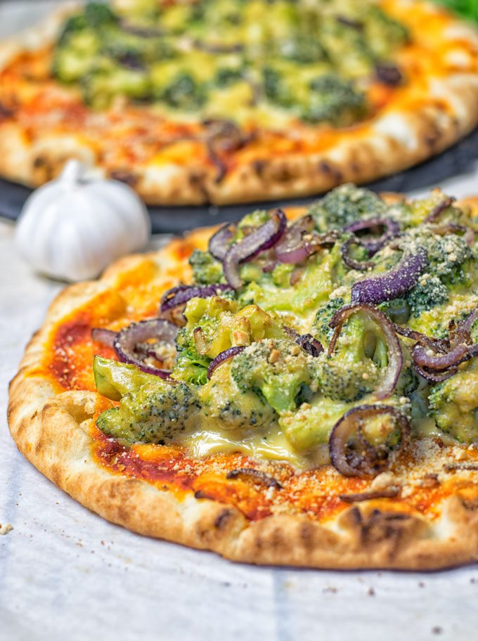 Broccoli Cheese Vegan Pizza | #vegan #glutenfree #contentednesscooking