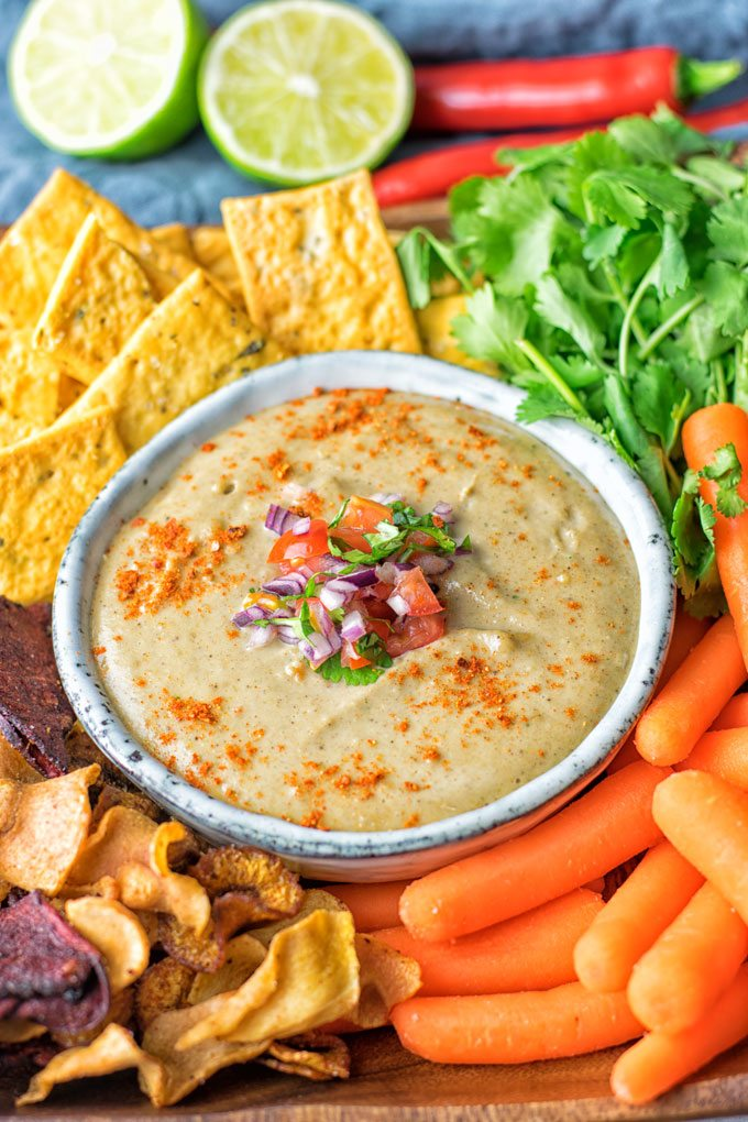 Closeup of Mexican Cheese Dip in a small grey bowl.