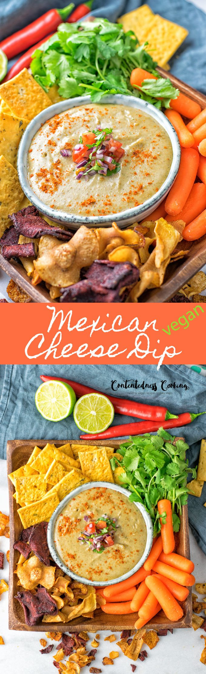 Collage of two pictures of the Mexican Cheese Dip with recipe title text.