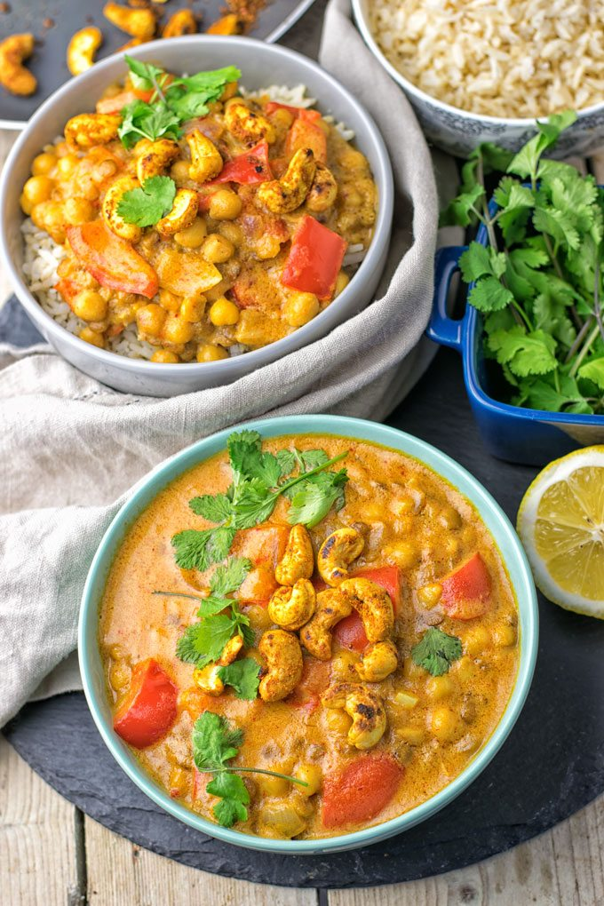 Lentil Chickpea Yellow Curry garnished with cilantro.