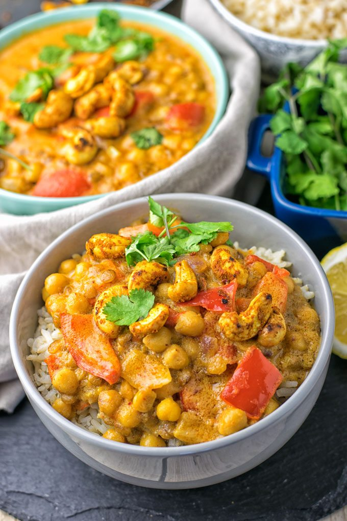 Closeup of Lentil Chickpea Yellow Curry.