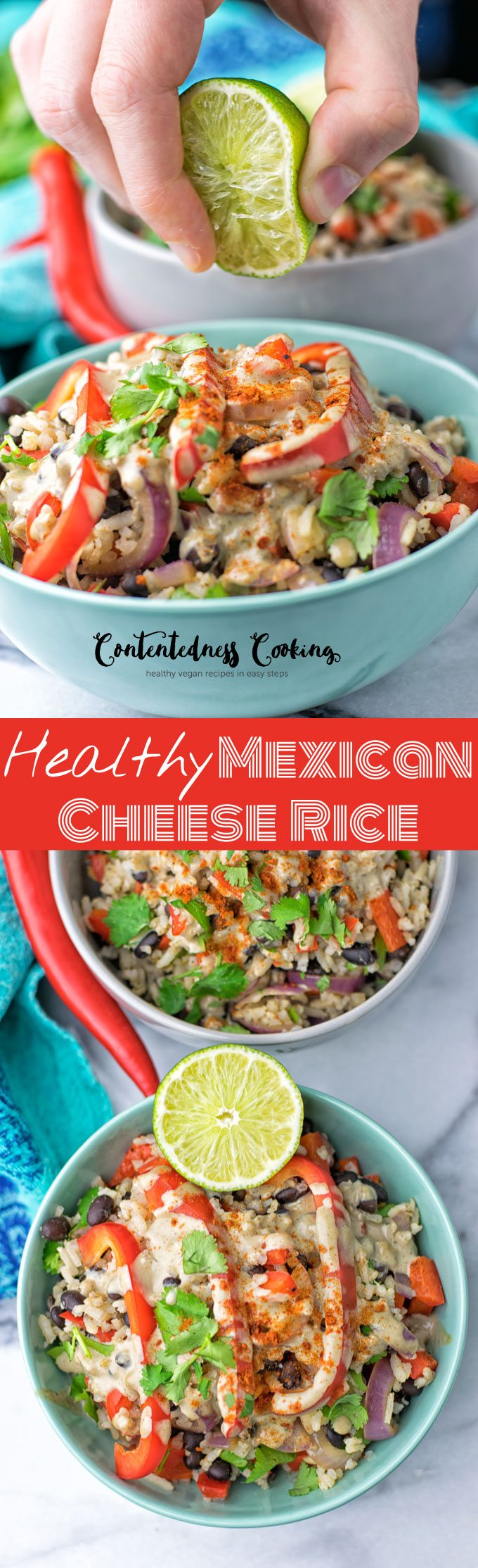 Healthy Mexican Cheese Rice | #vegan #glutenfree #contentednesscooking