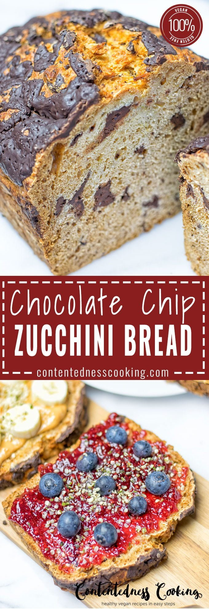 Chocolate Chip Zucchini Bread | #vegan #glutenfree #contentednesscooking