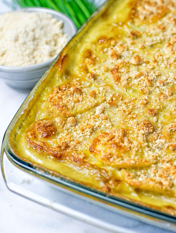 Garlic Butter Scalloped Potatoes | #vegan #glutenfree #contentednesscooking