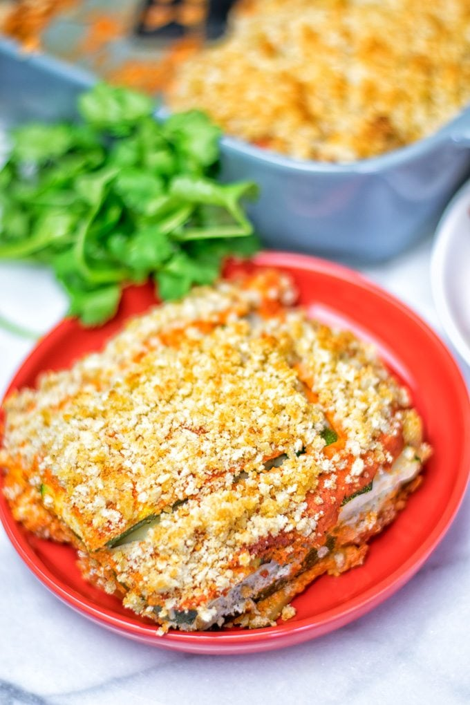 Closeup on a portion of Vegan Ricotta Zucchini Casserole.