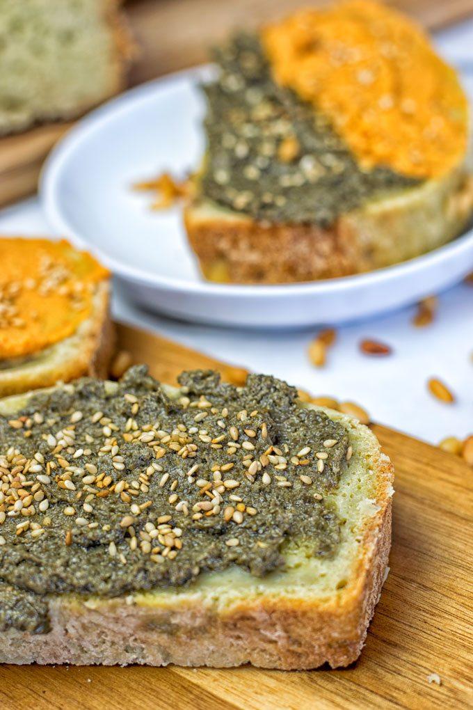 Closeup on a single open slice of the Garlic Butter Avocado Bread.