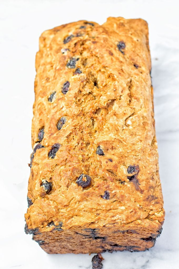 A full loaf of Gluten-Free Blueberry Bread.
