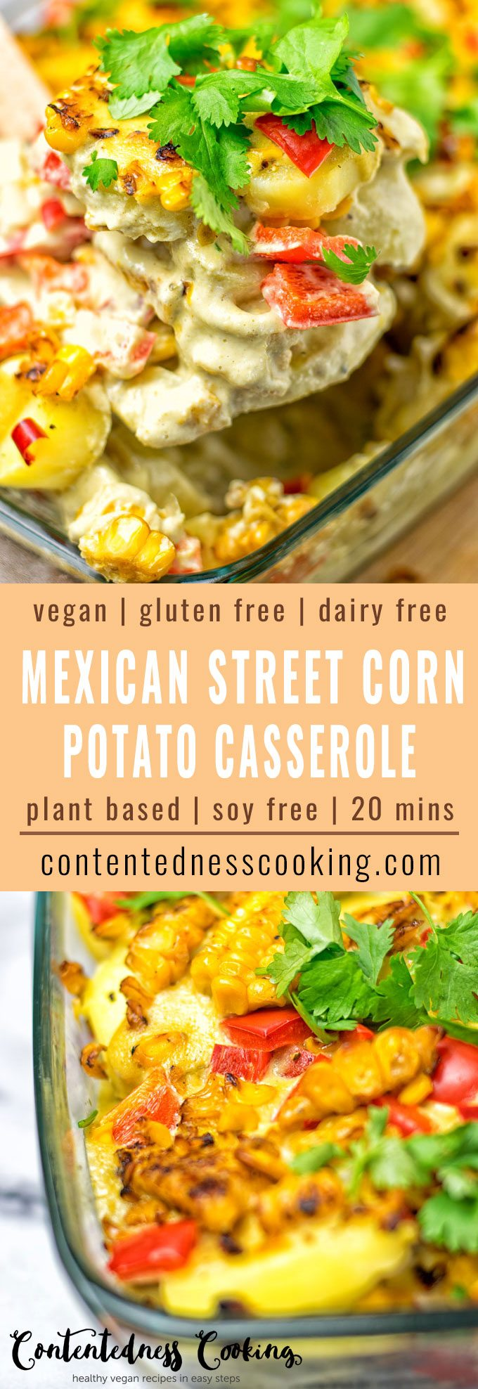 Mexican Street Corn Potato Casserole | #vegan #glutenfree #contentednesscooking #plantbased
