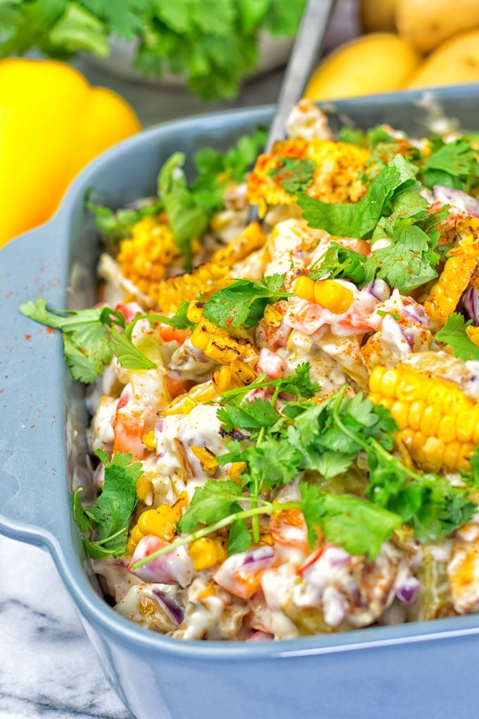 Mexican Street Corn Potato Salad | #vegan #glutenfree #contentednesscooking #plantbased #dairyfree