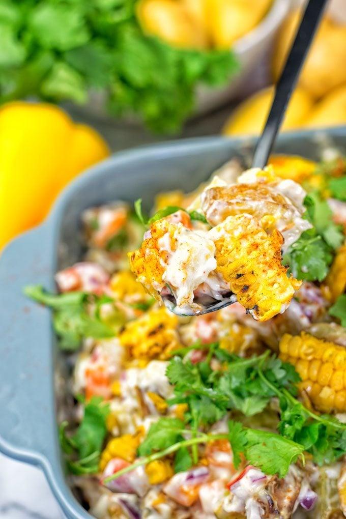 Mexican Street Corn Potato Salad   #vegan #glutenfree #contentednesscooking #plantbased #dairyfree