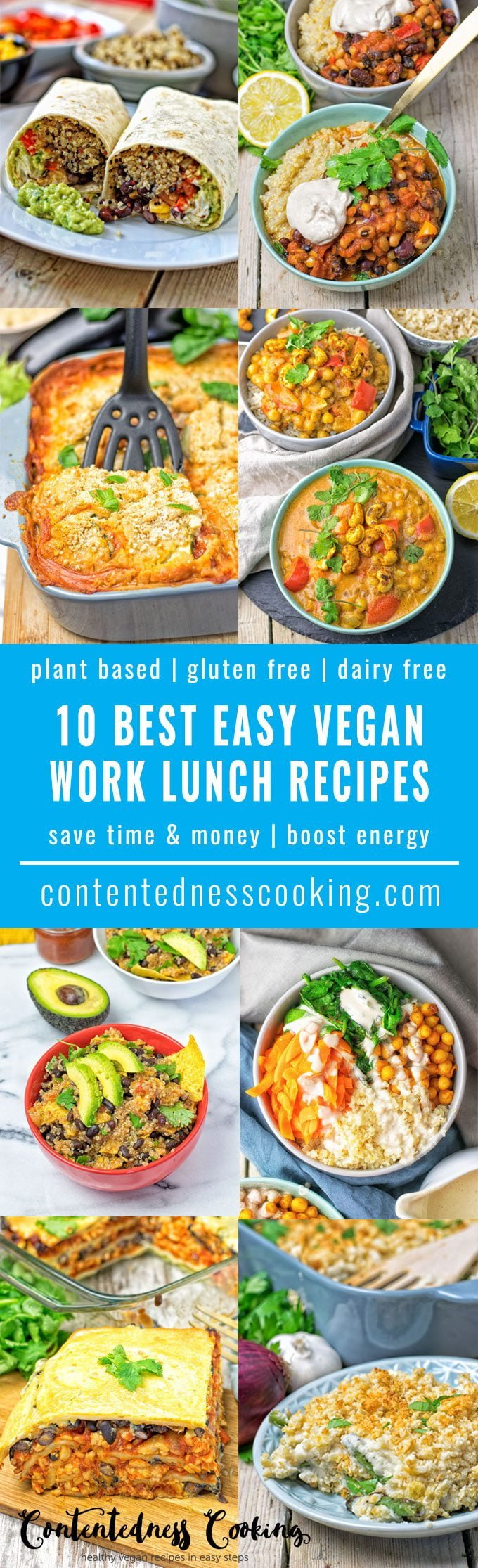 10 Best Easy Vegan Work Lunch Recipes | #vegan #glutenfree #plantbased #dairyfree #contentednesscooking