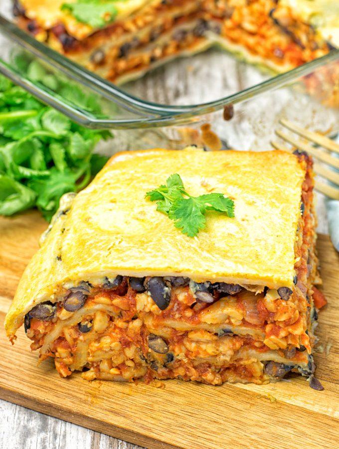 Easy Vegan Taco Lasagna | #vegan #glutenfree #contentednesscooking #plantbased #dairyfree