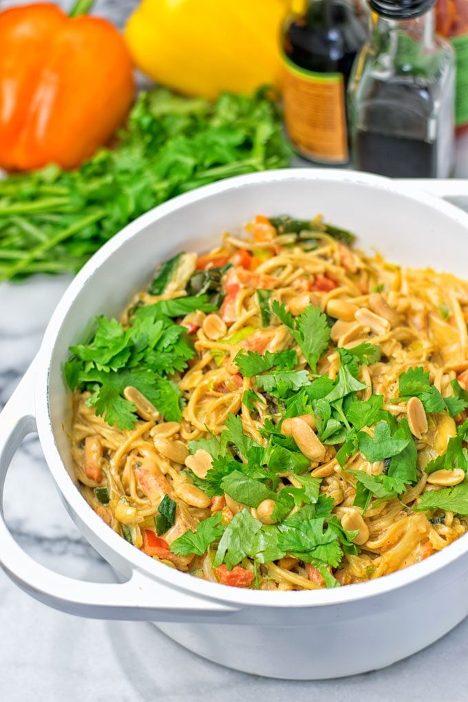 One Pot Pad Thai Noodles garnished with fresh cilantro.