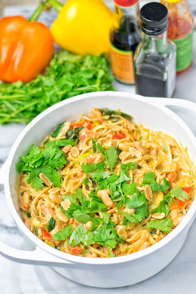 Pad Thai Noodles in a large white pot.