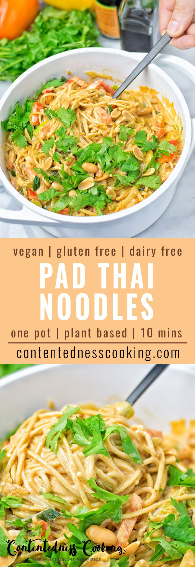 Collage of two pictures of the One Pot Pad Thai Noodles with recipe title text.