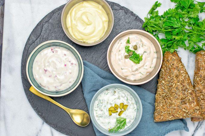 Vegan Tartar Sauce in four small bowls.