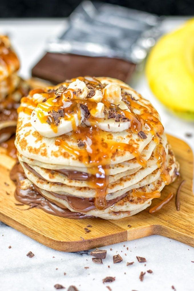 Vegan Caramel Nutella Pancakes | #vegan #glutenfree #contentednesscooking #plantbased #dairyfree #dessert
